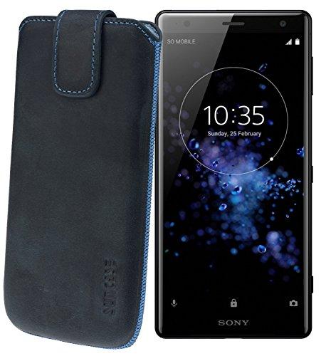 Suncase ECHT Ledertasche Leder Etui *Slim-Edition* für Sony Xperia XZ2 Premium (mit Rückzugsfunktion & Magnetverschluss) pebble-blue