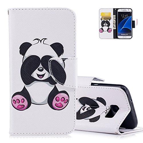 S7 Bunte Muster Schutzhülle Brieftasche - Aeeque [Süß Neuheit Tier Panda Muster] Kartenfach Standfunktion Schutzhülle Etui Handytasche für Samsung Galaxy S7 mit Weich Silikon Innere Bumper Schale