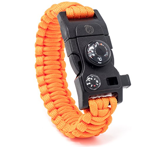 Steinbock7® Survival Armband 16-in-1, Paracord, Pfeife, Feuerstein, Messer, Kompass, Thermometer, Multitool, Orange