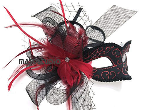 Black Purple Red Masquerade Ball Mask Flapper Veil Feather Mardi Gras Birthday Party Prom (Red)