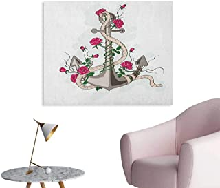 Rose Wall Picture Decoration Hand Drawn Illustration of Sea Anchor Entwined with Flowers and Marine Rope Custom Poster Hot Pink Green Taupe W32 xL24