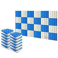 新しい24ピース 250 x 250 x 50 mm ピラミッド 吸音材 防音 吸音材質ポリウレタン SD1034 (パールホワイトと青)