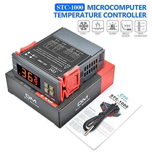 diymore STC-1000 Digitaler Temperaturregler Thermostate AC 110V-220V Heizungskühlung mit NTC Sensorsonde für Heizmatte Inkubator Hühner Reptilien Amphibien