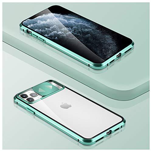 QfireQ Funda Magnética Metal para iPhone 11/11 Pro / 11 Pro MAX con Diseño de Puerta Corredera Cámara y Espejo Cristal de Cubierta de Acero de Doble Cara Escudo Protector,Verde,8 Plus/7 Plus