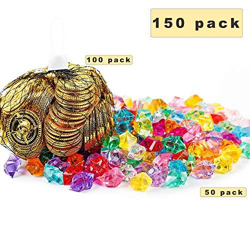 Sunshine smile Goldmünzen Kinder Piraten Edelsteine piratenschatz Kindergeburtstag Piraten Schmucksteine Schätze für Schatzsuche Schätze für die Piraten (100 Münzen + 50 Strasssteine)