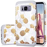 S8 Case,Pineapple Galaxy S8 Case,Fingic Unique Golden-Pineapple&Marble for Girls/Women Hard PC Soft Silicone Anti-Fingerprint Case for Samsung Galaxy s8 2017 Release,Grey