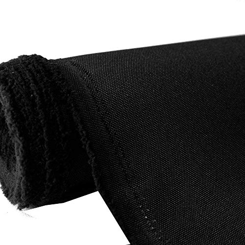 Mybecca Canvas Oxford Polyester Waterproof Fabric 600 Denier PU Backing UV Protector Black 1 Yard (Cut Separate by Yard for Prime Orders) 56' x 36' (3 ' x 4.7')