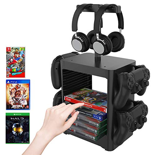 DAHAKII PS5 Game Disc Storage Tower Holder/PS5 Game Disc Rack /PS5 Controller/Headset Stand Holder Compatible with PS5/Nintendo Switch/PS4/Xbox Series X S/Xbox One/Video Game Disk Storage Organizer