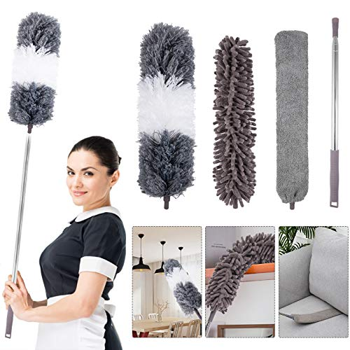 4PCS Microfiber Duster, with Extension Pole(Stainless Steel) 30 to 100 Inches, Reusable Bendable...