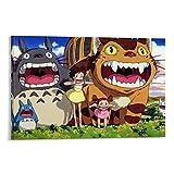 DRAGON VINES Póster e impresión de película animada My Neighbor Totoro Catbus Mei Satsuki Shout Art para pared de 60 x 90 cm