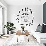 Yoga Pose pared pegatina vinilo arte extraíble cartel Mural Yoga estudio calcomanía decoración pared pegatina A4 42x43cm