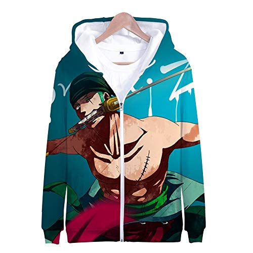 Nicoole One Piece Hoodie Veste Sweat 3D Imprimer Vogue Zipper Hoodies Hommes/Femmes Hiver À Manches Longues Anime Hoodies Vêtements M