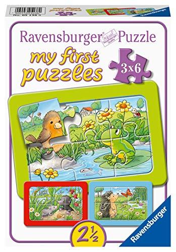 Ravensburger Puzzle 05138 Kleine dieren in de tuin Ravensburger Kinderpuzzle 05138-Kleine Gartenteire 3x6 Teile My First Puzzle für Kinder ab 2,5 Jahren, Yellow
