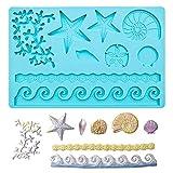 Marina Animales Moldes Silicona Molde Conchas del Mar Molde Decoración de Pastel de Estrella de Mar Molde Silicona de Mar en Forma 3D para Decorar Tartas Cumpleaños Chocolate Caramelos Bizcochos—Azul