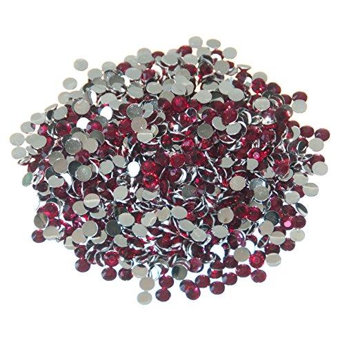 Lot de 1000 diamants plats en strass 4 mm Fuchsia