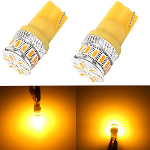 Alla Lighting T10 Wedge Amber Yellow 194 168 2825 175 W5W LED Bulbs Super Bright High Power 3014 18-SMD LED Lights Bulb Lamp Replacement