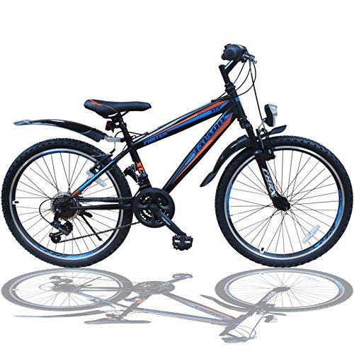 Talson 24 Zoll Mountainbike Fahrrad MIT GABELFEDERUNG & Beleuchtung 21-Gang Faster BBO