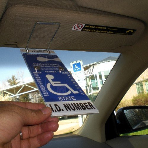 JL Safety Visortag Vertical The Ideal Way to Protect, Display & Swing Away a Handicap Parking Placard. Best Holder & Protector Available. Thick Plastic Resists Sun Heat. Patented & Made in USA