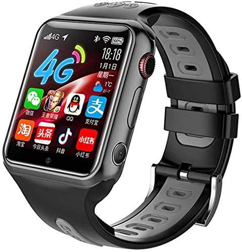 Lloow Kinder Smart Watch 4G-Netzwerk mit Musik-Player HD-Touchscreen, SOS-Spiele Bidirektionale Anruf Weckeraufzeichnung Videosorte Unterstützung Anti-Lost-Download-App SmartWatches 2021,Schwarz