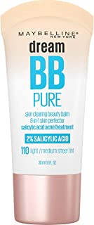 MAYBELLINE Dream Pure Skin Clearing BB Cream, 8-in-1 Skin Perfecting Beauty Balm With 2% Salicylic Acid, Sheer Tint Covera...