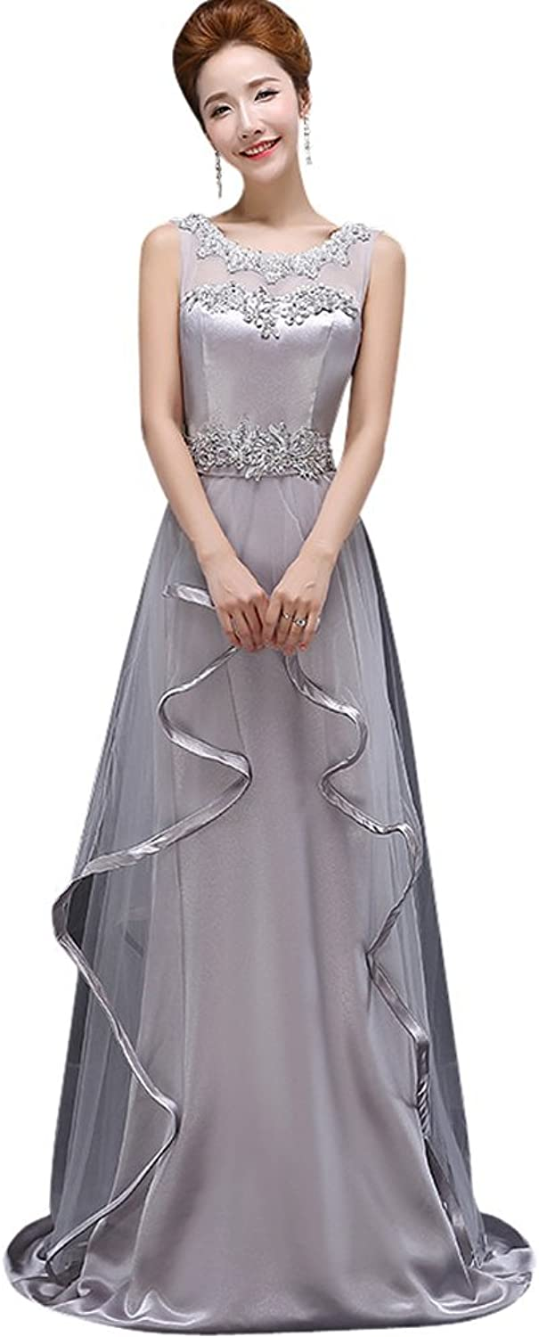 Drasawee Women's Long Pearls Beading Satin Prom Formal Party Dress Evening Gowns Grey US8