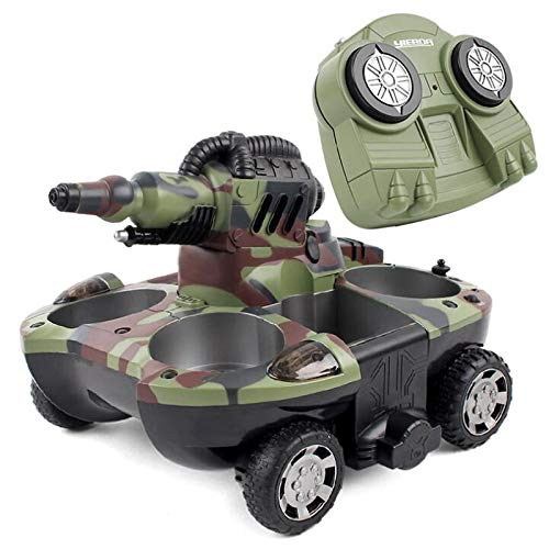 MEILINL RC Tank Car Amphibious 2.4Ghz Télécommande Rechargeable RC Bateau with LED Light for Kids Or Adults 360 ° Rotating Vehicle Gifts Spray Water