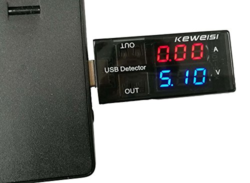 QiCheng&LYS 5A/9V LED Display Multi Tester Doble Salida USB Detector de Corriente para Teléfono Cargador Power Bank (Negro)