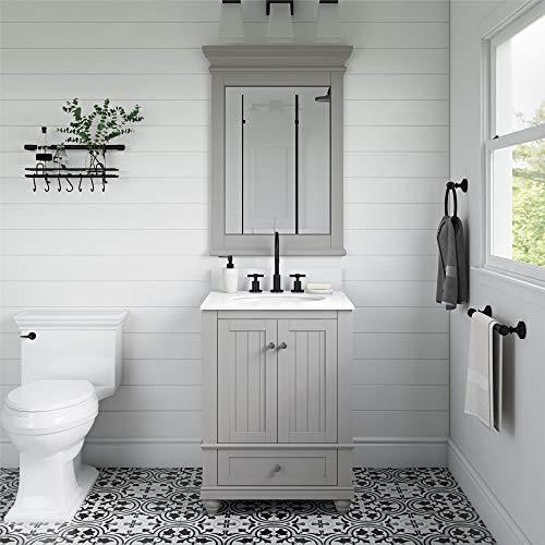 Dorel Living Monteray Beach 24 Inch, Gray Bathroom Vanity, 24