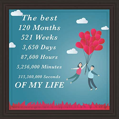 Unconditional Rosie 10° anno regalo di matrimonio e fidanzamento   7X7 Piastrelle Artwork   Dieci anni di relazione per moglie, marito, fidanzato e fidanzata