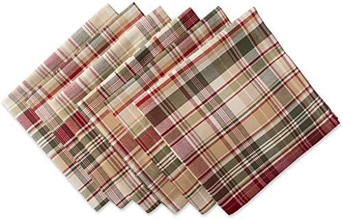 Cabin Plaid 100% Cotton Oversized Napkin, Set of 6 (20x20)