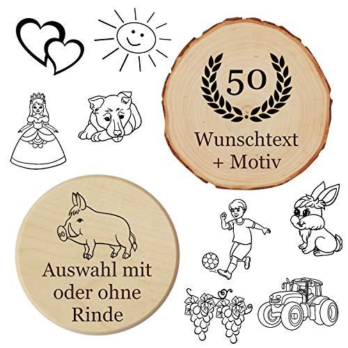 Glasdeckel - Glasuntersetzer mit persönlicher Gravur, Name + Motiv, mit oder ohne Rinde - multifunktionaler Holzdeckel, Glasabdeckung, Insektenschutz, Untersetzer, Bierglasdeckel, Bierdeckel