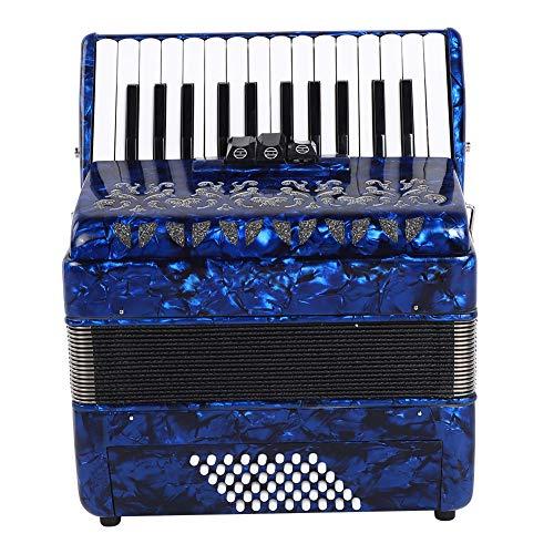 Acordeón, Acordeón de 26 Teclas y 48 Bajos Cambio de Sonido Acordeón Instrumental Musical Educativo con Correa y Bolso de Fuelle, Bajo Profundo, Agudos Agudos para músicos y Estudiantes(Azul)