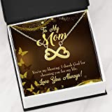 Express Your Love Gifts Mother Necklace You're My Blessing Mom Necklace Keepsake Card Gift Infinity - Colgante de acero inoxidable