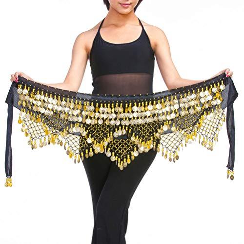BESPORTBLE Damen Zumba Rock Bauchtanz Hüfttuch Mit Münzen Röcke Wrap Laut (Schwarzes Gold, Freie Größe)