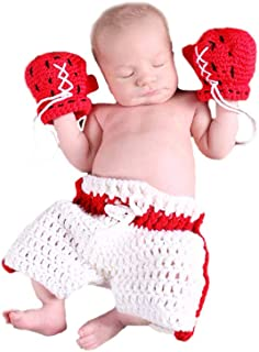 Shark strawberry Cute Baby Newborn Boxing Costume Crochet Knitted Costume Glove Photography Props