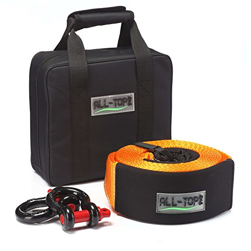 ALL-TOP Nylon Heavy Duty Tow Strap Recovery Strap Kit : 3 inch x 30 ft (35,000 lbs) 100% Nylon and...