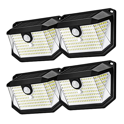 Solar Outdoor Light 4 Pack 178LED Solar Motion Sensor Light Solar Outdoor Wall Lights, IP65 Solar Lights Outdoor Waterproof Wall Lights 270° Wide-Angle Lighting Wall Light, Suitable for Porches Etc.