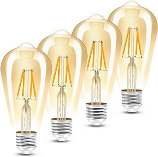 Bombillas LED con casquillo E27, Edison vintage retro filamento ST64, bombillas de 4 W equivalentes a 40 W, 400 lúmenes, luz blanca cálida 2300 K, no regulable, 4 unidades
