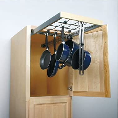 Knape & Vogt PAN1700TM-FN Pot & Pan Pantry Organizer with 6-Hooks, Frosted Nickel