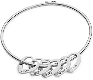 MyNameNecklace Personalized Bracelet Bangle with Heart Charms- Custom Made Multiple Pendant Engraved Jewelry for Women