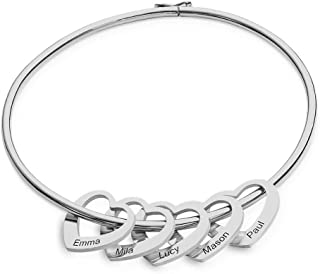 MyNameNecklace Personalized Bracelet Bangle with Heart Pendants - Custom Multiple Pendant Jewelry Christmas Gift