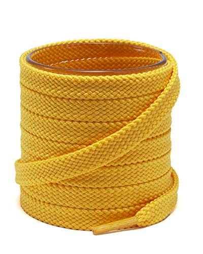 """Shoemate [2 Pair Pack] Solid Color Thick Flat 5/16"""" Shoe Laces for Sneakers and Athletic Shoes, Yellow, 63""""(160cm) 23-Jinhuang"""