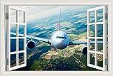 3D fenêtre autocollant mural PVC autocollant affiche murale ville ciel nuages vol décoller atterrissage avion volant avion avion de ligne paysage décor à la maison chambre
