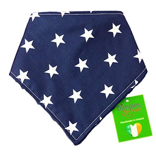 Dimples Hundehalstuch - Blau mit Sternen - Halstuch für kleine mittlere und Grosse Hunde Welpen und Katzen - Hunde Besitzer Geschenk - Handgemachtes Hunde Accessoire 25cm