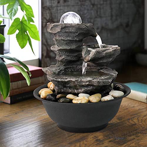 770 25 cm 3-stufiger Rock Zimmerbrunnen, Feng Shui-Meditationswasserfallbrunnen mit Kristallkugelakzent und LED-Beleuchtung für die Inneneinrichtung im Home Office