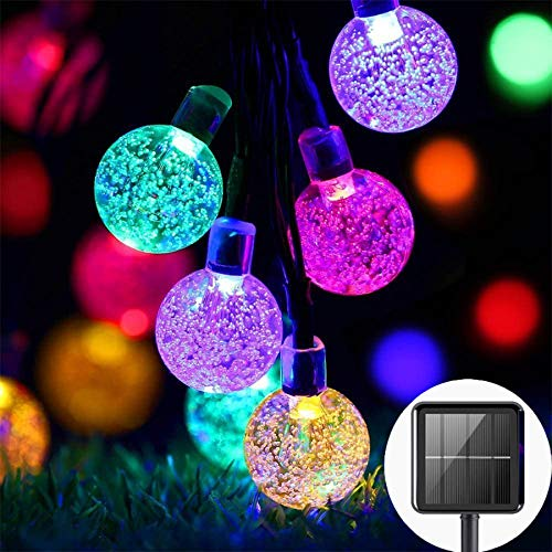 Solar lichterkette außen wetterfest, 50 LED lichterkette garten 8 Modi 7M / 24Ft Außer/Innen lampions solar außen für Garten, Bäume, Hochzeiten, Partys, Weihnachten usw (Mehrfarbig)