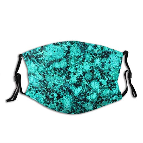 Chic Marble Glitter Turquoise Mask Balaclava Reusable Washable Anti-Dust Mouth Bandanas with 2 Pcs Filters