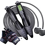 Jump Rope,Digital Counting Speed Jumping Rope Counter for Indoor and Outdoor Fitness Boxing Training Adjustable Ropeless Jump Rope Workout for Adult,Men,Women,Children Electronic Cordless Skipping Rope