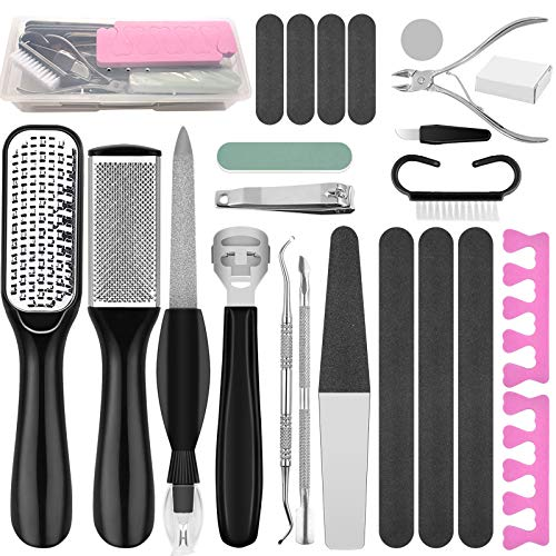 MJSWHY 23 in 1 Pedicure Tools Kit, Callus Remover Set with Foot Files and Rasp Foot Grinder and...