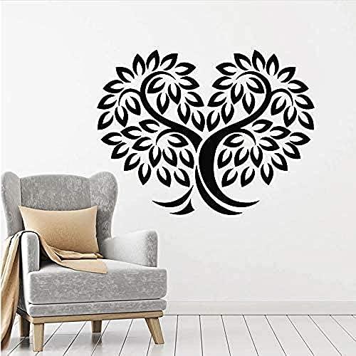 Hojas de árbol de la pared Calcomanía de la naturaleza Habitación Dormitorio Sala de estar Decoración de la casa Vinilo Ventana Etiquetas de ventana Amor Corazón Art Mural 55x42cm